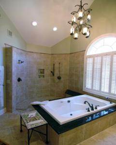 Bathroom with open shower