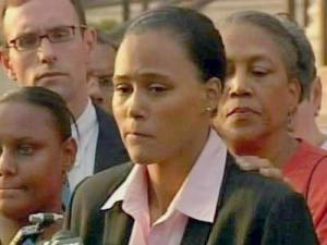 Three-time Olympic gold medalist Marion Jones speaks to the media after pleading guilty to lying to federal investigators when she denied using performance-enhancing drugs.