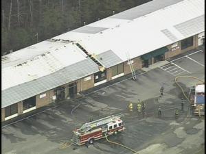 Building fire in Smithfield