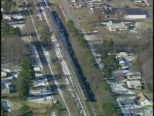 Sky 5 footage of a train, car wreck