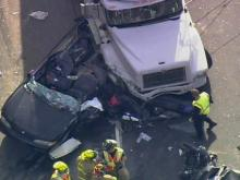 Sky 5 flies over I-40 tractor-trailer wreck