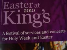 A look at the program for a Holy Week event at Cambridge University in England.