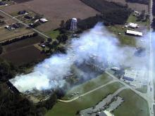 Sky 5 coverage of Kinston plant fire