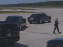 Air Force One arrives at RDU