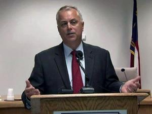 Wake County school Superintendent Tony Tata holds his weekly news conference with reporters on June 1, 2012.
