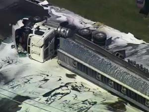 A tanker truck carrying 8,000 gallons of ethanol, wrecked at the intersection of U.S. Highway 70 and Ricks Road near Interstate 95 in Selma Tuesday, prompting authorities to evacuate local businesses