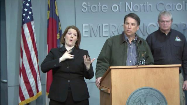 McCrory, officials give update on road conditions