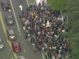 Sky 5 flies over solidarity march