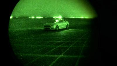 Ford tests Fusion Hybrid autonomous research vehicles at night, in complete darkness, as part of LiDAR sensor development – demonstrating the capability to perform beyond the limits of human drivers. (Deseret Photo)