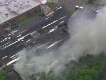 Sky 5 flies over large fire in Hillsborough