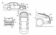 Images from Google's patent for an adhesive vehicle front end. (Deseret Photo)