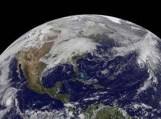 In an image from Nov. 22, when many people started traveling for Thanksgiving, cloud cover draped over the U.S. East Coast from a cold front that stretched from New England south into the Gulf of Mexico. On Nov. 23, that cold front still lingered although it moved further east. (Deseret Photo)