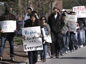 A group of students pass through Wilmington on March 23, 2010, on a march to Washington, D.C., to lobby for federal legislation that would allow illegal immigrants to enroll in universities nationwide.