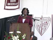Irma McClaurin is introduced as the 15th president of Shaw University on Sept. 9, 2010.
