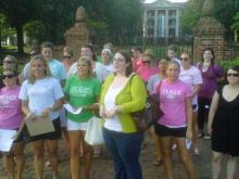 Hundreds of alumnae gathered on the campus of Peace College in Raleigh Sunday to voice concerns over the administration's decision to change the college's name and admit male students next year.