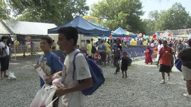 Thousands lined up for school supplies Thursday at the Durham Rescue Mission.
