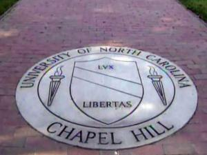 UNC-Chapel Hill seal on sidewalk