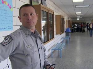 School Resource Officer Timmy Bullins now patrols the same halls of Union Pines High School that he used to walk through as a student.