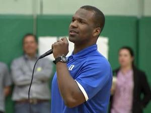 Duke University quarterback Anthony Boone told East Cary Middle School students Monday that they should look out for each other to fight bullying.