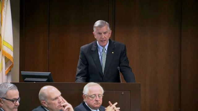University of North Carolina System President Tom Ross addresses the UNC Board of Governors on Oct. 24, 2014.