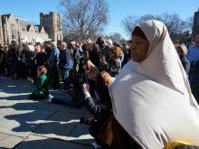 Hundreds of people gathered outside Duke Chapel on Jan. 16, 2015, to support Muslim students during a weekly call to prayer.