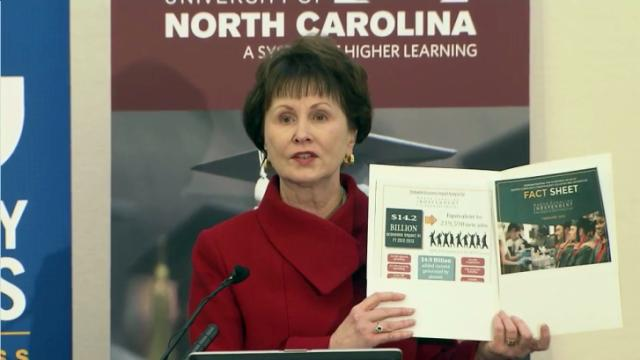 North Carolina's public and private universities and community colleges add more than $63 billion a year to the state economy, according to a study released Feb. 18, 2015.