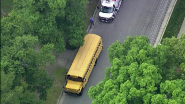 A bus carrying 15 students from Raleigh's Torchlight Academy collided with a car Friday afternoon near the intersection of Poole and Cooper roads.