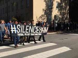 A student protest countered the annual UNC University Day celebration on Oct. 12, 2015.