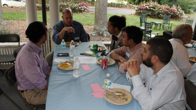 Police Chief Chris Blue meets with UNC Muslim students to discuss ways to build a more inclusive environment. (Photo by: Catherine Lazorko)