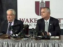 Tony Tata, incoming superintendent of the Wake County Public School System, right, and Wake County School Board Chairman Ron Margiotta, left, take questions from reporters during a news conference Jan. 7, 2011.