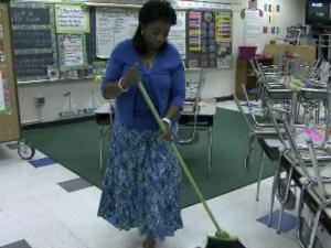 Many parents are used to cleaning up dirt, dust and sticky spills at home, but dozens of Wake County parents have been pulling double duty at their children's schools after the school board slashed 70 janitor jobs last year.