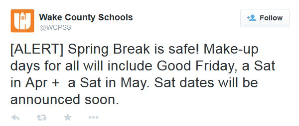 "The Wake County Public School System tweeted, ""Spring Break is safe!"" on Tuesday, March 3, 2015."