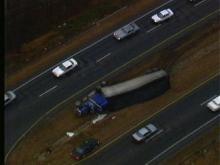 Tractor-Trailer Overturns on Highway 64