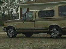 This brown truck was located in front of Brittany&#039;s home. It belongs to a mourner.