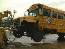 This Wake County school bus was involved in an accident on the way to Garner Sr. High. (WRAL TV)