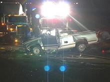 Investigators say this pickup truck lost control and crossed the median on U.S. 1 (WRAL-TV5 News)