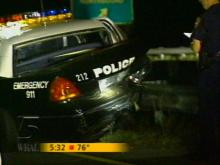 The rear-ended Durham police cruiser. (WRAL-TV5 News)