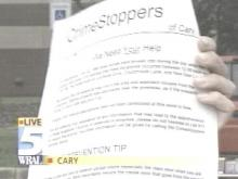 Police flyers take the form of CrimeStoppers -- without photos, names or addresses of possible suspects (WRAL-TV5 News)