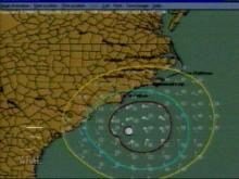 This map documents the expected wind gusts as Bonnie makes her way up the coast. Areas in the yellow band will experience tropical storm strength winds, while counties in the green and red bands will experience tropical storm and hurricane strength winds. This path is expected to continue in a northwesterly pattern. (WRAL-TV5 News)