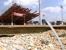 One day after the Carolina Mudcats lost their Major League affiliation, they lost part of their stadium as renovations began. (WRAL-TV5 News)
