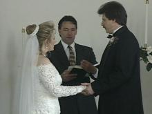 Denise and Donald Ennis were the first couple married at the White Dove Wedding Chapel.(WRAL-TV5 News)