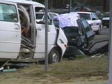 Fayetteville police say a car crossed the center line and plowed into a plumbing van at the intersection of Yadkin Road near Silver Pine Drive.(WRAL-TV5 News)