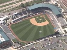 The Durham Bulls have cut the grass at the DBAP in a new sunburst pattern for its current home stand. The field will return to the checkerboard grass pattern during the Bulls' next home stand.(WRAL-TV5 News)