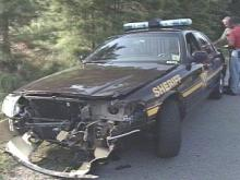 Two Vance County deputies crashed into each other Tuesday while helping Henderson police search for a suspect. Both deputies were treated and released from the hospital.(WRAL-TV5 News)