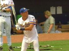 Singer Michael Bolton at bat for charity.(WRAL-TV5 News)