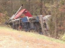 A tractor-trailer overturned Tuesday afternoon on Interstate 40 in southeast Wake County, causing traffic headaches for motorists.(WRAL-TV5 News)