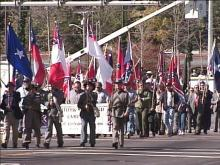 The Sons of Confederate Veterans marched in Fayetteville's Veterans Day parade.(WRAL-TV5 News)