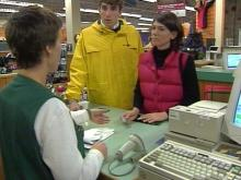 Saturday's bad weather brought people into stores.(WRAL-TV5 News)