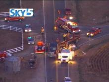 A tractor trailer and a car were involved in a wreck along Highway 242 near Benson Thursday morning.(WRAL-TV5 News)