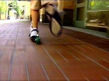 In Raleigh, when a kid's foot is on a scooter, a helmet better be on his or her head.(WRAL-TV5 News)